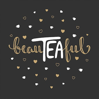 Beauteaful, hand drawn lettering with hearts