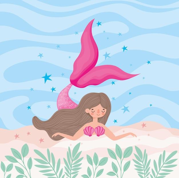 아름다운 핑크 인어