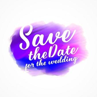 結婚式のテキストの日付を保存するとbeautfiul紫とピンクの水彩染色