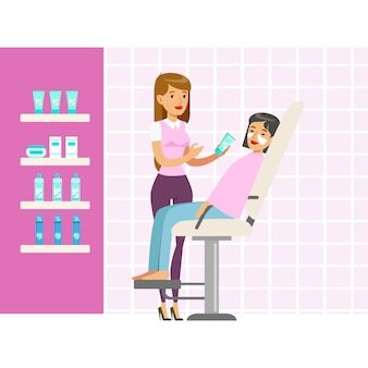 Beautician applying woman white mask on face in salon. colorful cartoon character  illustration