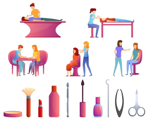 Beautician icons set, cartoon style