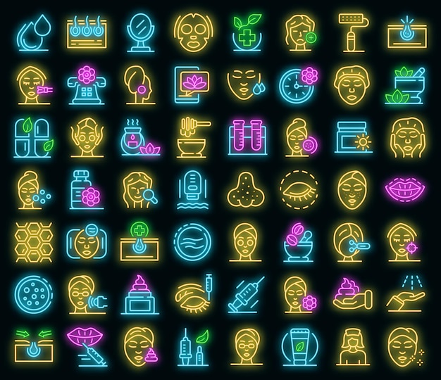 Набор иконок косметолог. наброски набор косметолог векторных иконок неонового цвета на черном