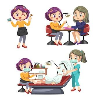 미용사는 미용실에서 메이크업, 편안한 의자에 siting 여성 고객
