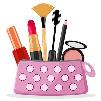 口紅、マスカラー、白い背景の上のタッセルを持つ美容師。