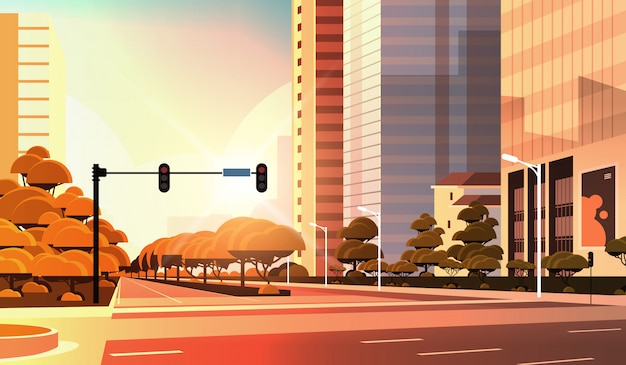 Beautifil city street, asphalt road with traffic light