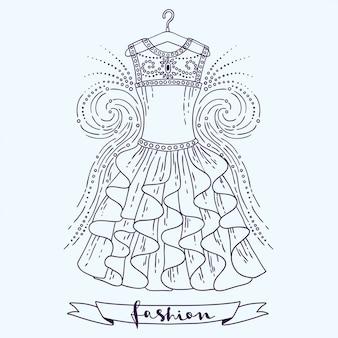 Beautifil dress on a hanger, vector fashion  illustration