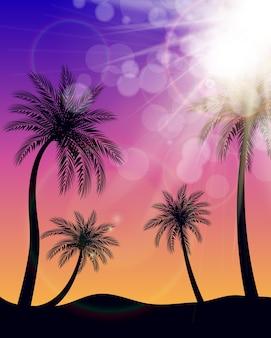 Beautifil пальмовых листьев силуэт фон