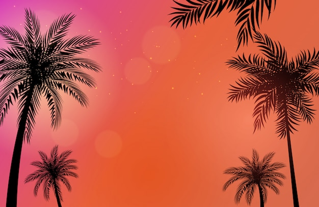 Beautifil palm trees background  illustration