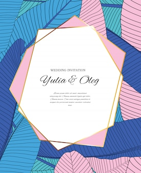 Beautifil wedding invitation with palm tree leaf  silhouette