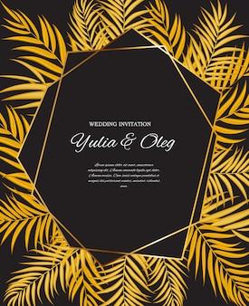 Beautifil wedding invitation with palm tree leaf  silhouette