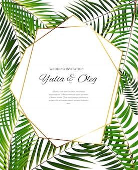 ヤシの木の葉シルエットとbeautifil結婚式の招待状