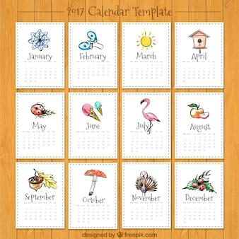 Beautiful 2017 calendar with drawings