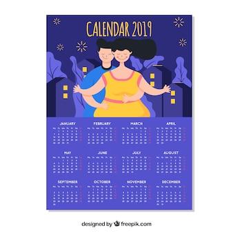 Beautiful 2019 calendar design