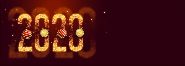 Beautiful 2020 happy new year made with sparkles banner