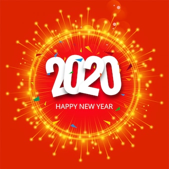 Beautiful 2020 new year glitters celebration  vector