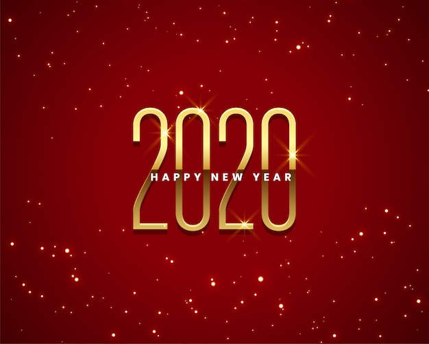 Beautiful 2020 new year golden and red background