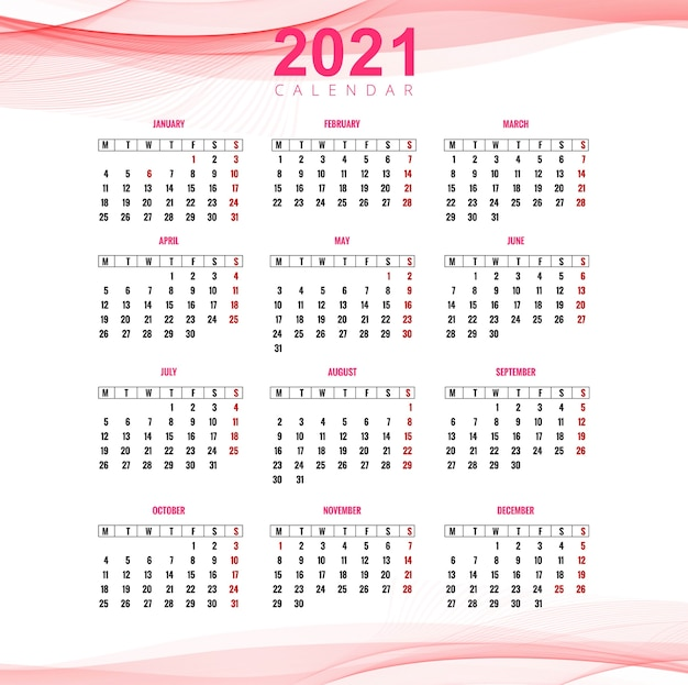 Beautiful 2021 business calendar for wave background
