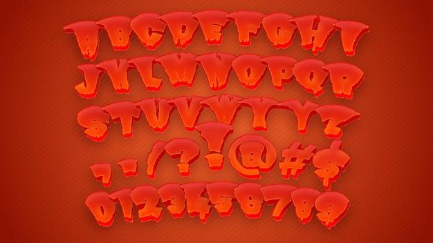 Красивый 3d алфавит с красным цветом крови