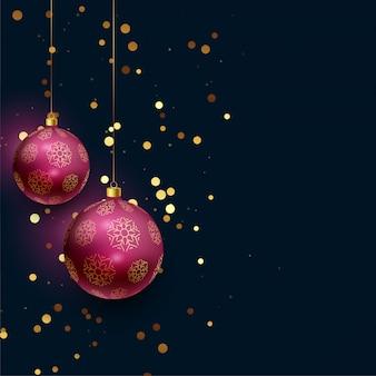 落ちるキラキラと美しい3Dのクリスマスボール