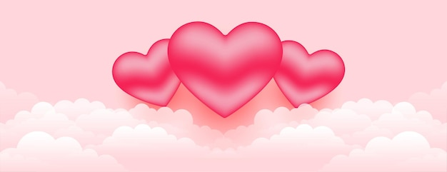 Beautiful 3d hearts over the clouds banner