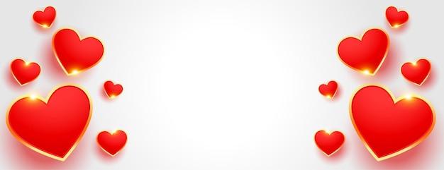 Bella bandiera di san valentino stile 3d con lo spazio del testo