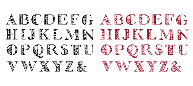 Beautiful abstract folk alphabet in black and red versions