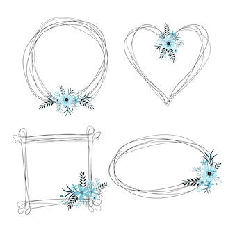 Beautiful abstract frames with flower ornaments.