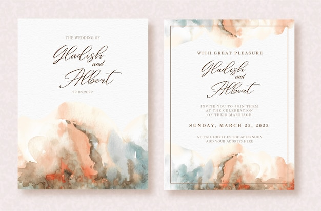 Beautiful abstract splash art watercolor on wedding card template