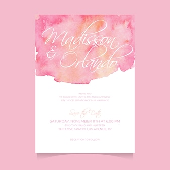 Beautiful abstract watercolor wedding template