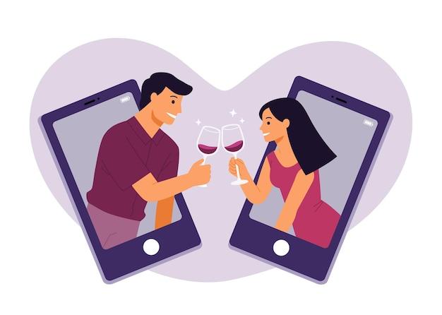 Красивые взрослые пары звонят онлайн в очках