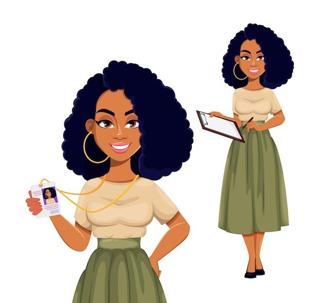 Иллюстрация красивая афро-американская бизнесвумен