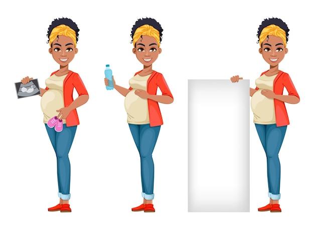 3つのポーズの美しいアフリカ系アメリカ人妊婦セット