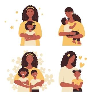 아름다운 아프리카 흑인 여성이 아기를 팔에 안고 엄마가 아이들을 안아줍니다. 어머니의 날, 여성의 날. 흰색 배경에 고립 된 평면 벡터 사람들의 집합
