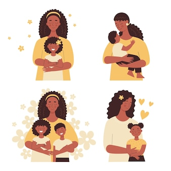 Beautiful african black woman holds a baby in her arms, mom hugs her children. mother's day, women's day. set of flat vector people isolated on white background