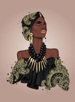 민족 옷에 아름 다운 아프리카 소녀