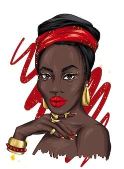 터 번에서 아름 다운 아프리카 여자