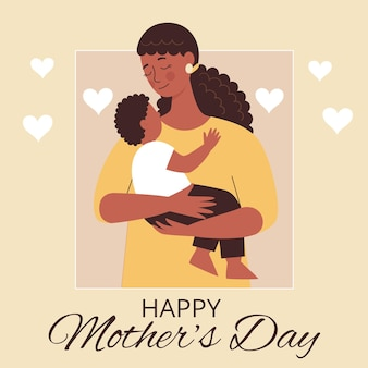 그녀의 손에있는 아들과 함께 아름 다운 아프리카 여자