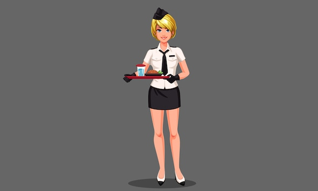 Beautiful air hostess with food tray vector illustration