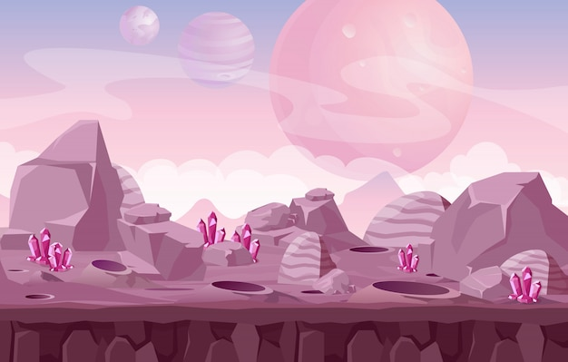 Beautiful alien landscape, space background in pink colors for game design.