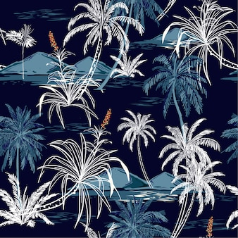Beautiful aloha monotone blue seamless island pattern vector.