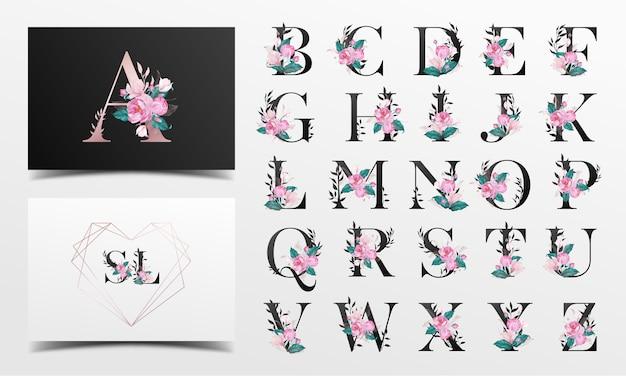 Bella collezione di alfabeto decorata con stile floreale dell'acquerello