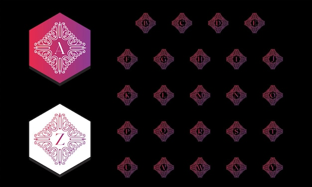 Beautiful alphabet collection decorated with ornament gradient style free vector