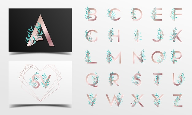 Beautiful alphabet collection with floral watercolor decoration