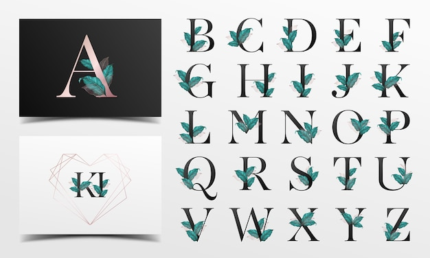 Beautiful alphabet collection with leaf watercolor decoration