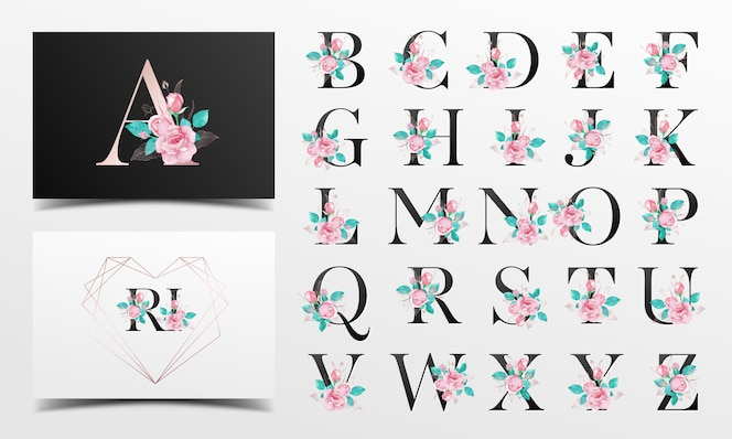 Beautiful alphabet collection with rose watercolor decoration