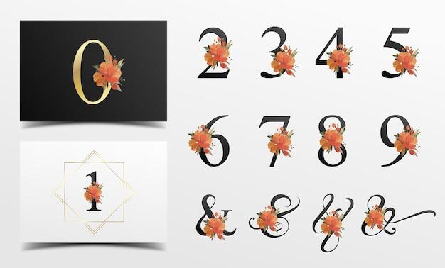 水彩花飾りの美しいアルファベットコレクション
