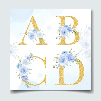 Beautiful alphabet in golden color with flower floral