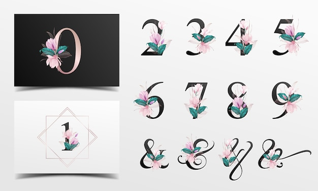 Beautiful alphabet number collection with pink watercolor floral decoration