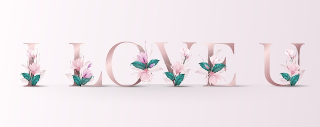 Beautiful alphabet with flower watercolor decoration