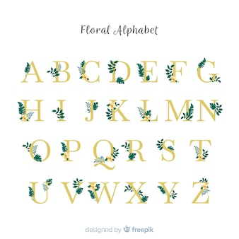 Beautiful alphabet with flowers